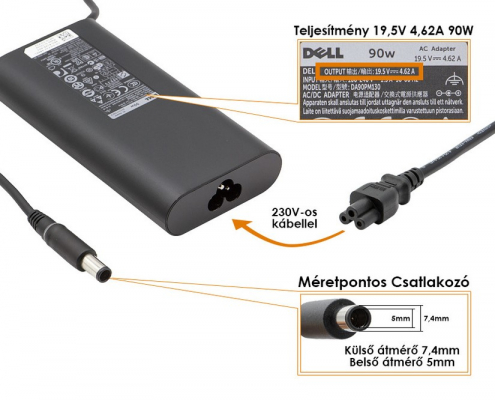 Dell 19.5V 4.62A 90W gyári adapter