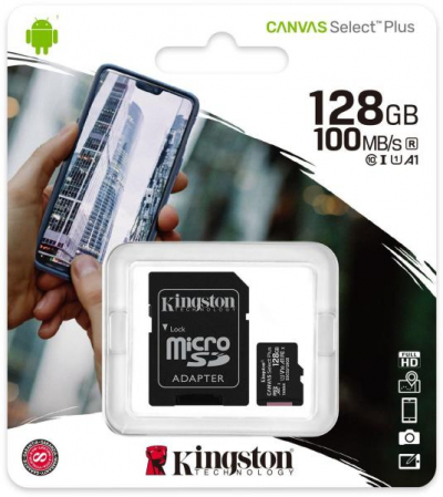 Kingston 128GB micro SD XC Canvas (Class 10, UHS-I) + SD adapter